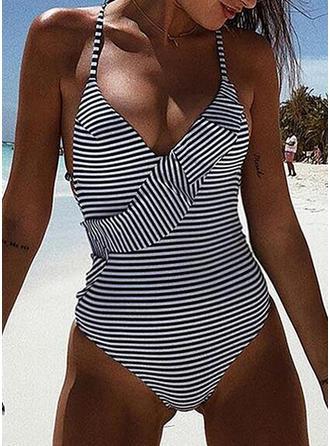 Stripe Halter V-Neck Sexy One-piece Swimsuits