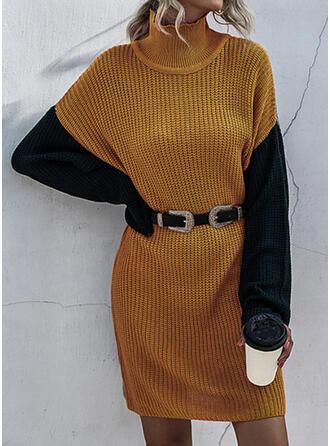 Kleurblok Ronde Hals Casual Lang Sweaterjurk