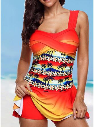 Print Splice color Strap Plus Size Colorful Casual Swimdresses Swimsuits