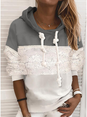 Print Color Block Floral Lace Long Sleeves Hoodie
