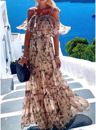 Print 1/2 Sleeves A-line Skater Vacation Maxi Dresses