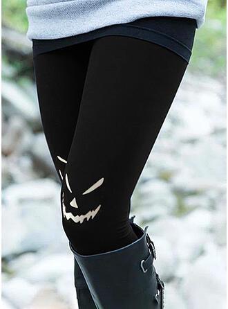 Halloween Print Cartoon Long Casual Plus Size Pocket Leggings