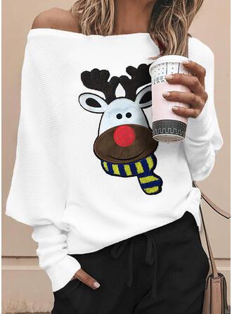 Dierenprint One Shoulder Vleermuis Mouw Lange Mouwen Kerstmis Overhemd