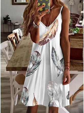 Print Sleeveless A-line Above Knee Casual Slip/Skater Dresses