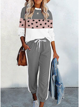 Heart Print Color Block Casual Plus Size Sweatshirts & Two-Piece Outfits Set