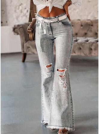 Shirred Gescheurd Lang Elegant Sexy Spijkerbroek