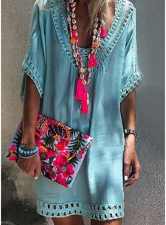 Solid Color V-Neck Fresh Boho Cover-ups Swimsuits