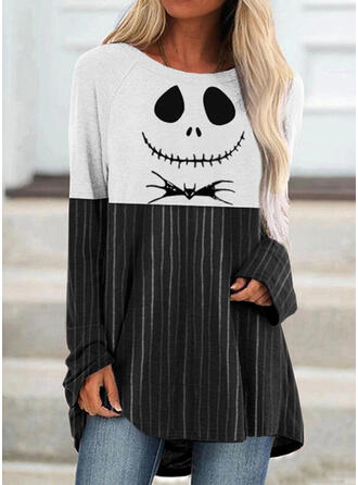 Halloween Color Block Print Striped Animal Round Neck Long Sleeves T-shirts