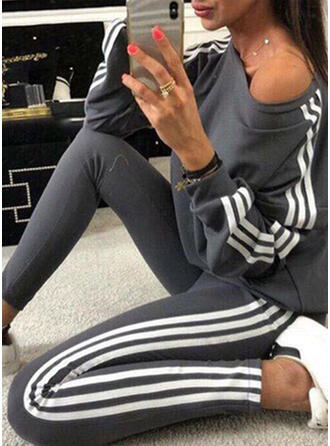 Striped Patchwork Casual Sporty Stretchy Suits