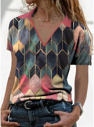 Geometric Print Lapel Short Sleeves T-shirts