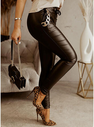 Solid Long Casual Chains Pants