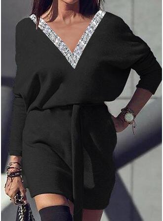 Solid Sequins Long Sleeves Bat Sleeve Sheath Above Knee Little Black/Casual Dresses