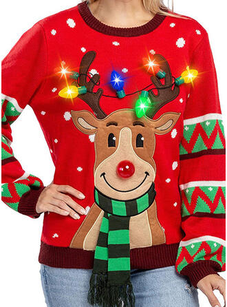Women's Polyester Print Deer Ugly Christmas Sweater