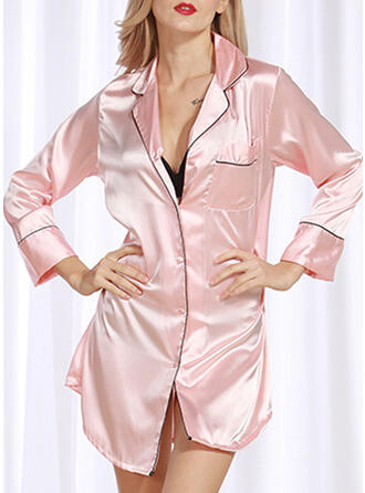 Polyester Effen kleur Lange Mouwen Sexy Verleidelijk Pyjama Set