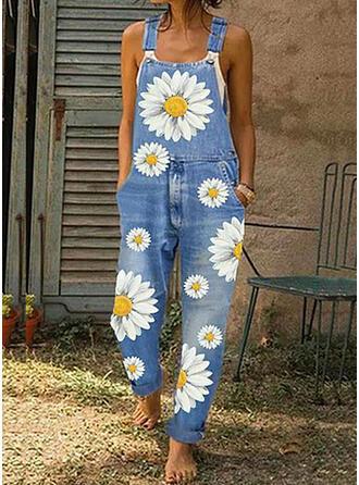 Floral Print Denim Strap Sleeveless Casual Jumpsuit