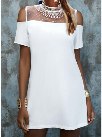 Short Sleeves Shift Above Knee Casual Tunic Dresses
