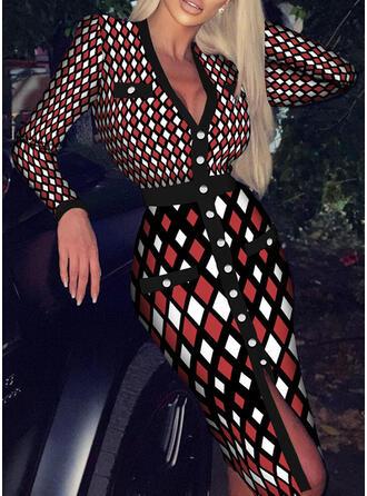 Print Long Sleeves Sheath Elegant Midi Dresses