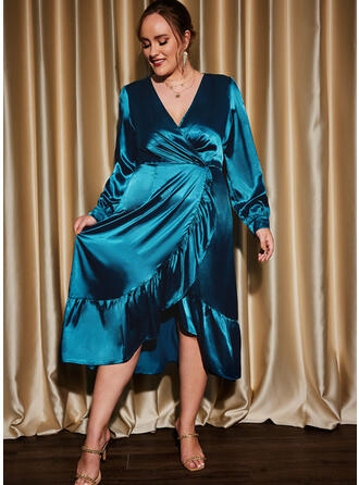 Solid Long Sleeves Lantern Sleeve A-line Skater Party/Plus Size Midi Dresses