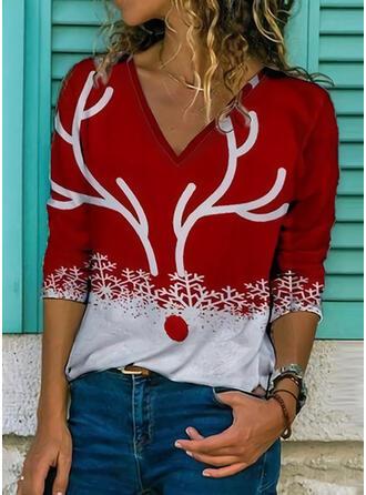 Print V-hals 3/4 Mouwen Casual Kerstmis Overhemd