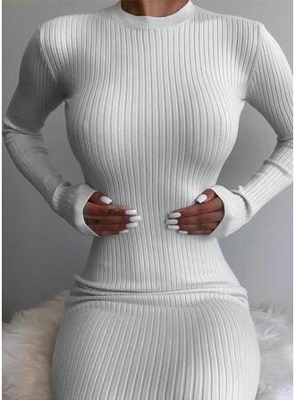 Solide Lange Mouwen Bodycon Sexy/Casual Medium Jurken