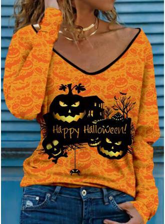 Halloween Print Letter Skull head V-Neck Long Sleeves T-shirts