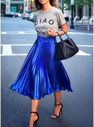 Cotton Blends Plain Mid-Calf A-Line Skirts