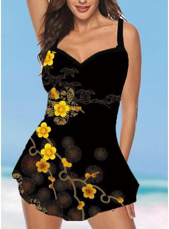 Print Strap Sexy Plus Size Boho Swimdresses Swimsuits
