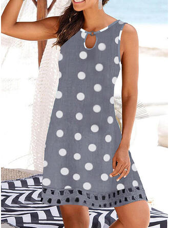 Print/PolkaDot/Hollow-out Sleeveless Shift Above Knee Casual/Vacation Dresses