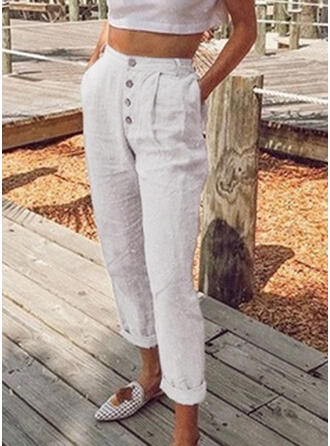 Pockets Shirred Plus Size Long Casual Solid Pants