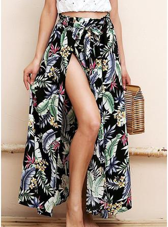 Cotton Linen Print Maxi A-Line Skirts