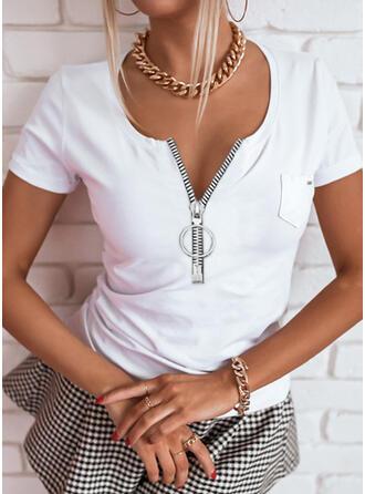 Solid V-Neck Short Sleeves Casual Basic Blouses