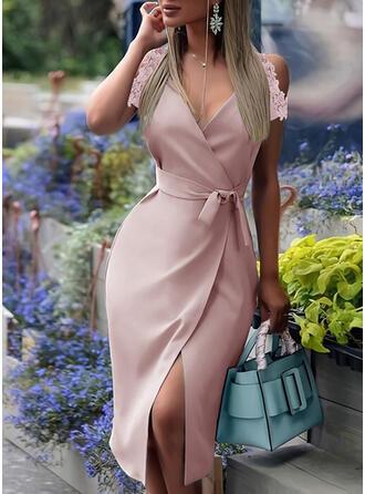 Lace/Solid Short Sleeves Sheath Wrap Elegant Midi Dresses