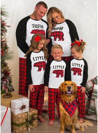 Hert Bear Plaid Letter Voor Gezinnen Kerst Pyjamas