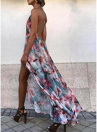 Print/Floral/Backless Sleeveless A-line Skater Sexy/Vacation Maxi Dresses