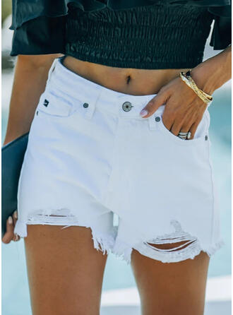 Solid Denim Sexy Plus Size Pocket Ripped Rivets Button Pants Shorts Denim & Jeans