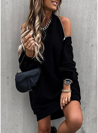 Solid Long Sleeves Shift Above Knee Little Black/Sexy/Party Sweatshirt Dresses