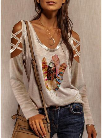 Print Cold Shoulder Lange Mouwen Polka Prik Overhemd