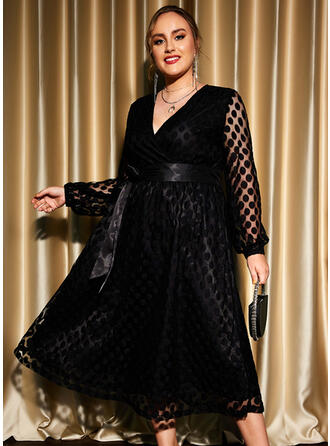 Solid Long Sleeves Lantern Sleeve A-line Skater Little Black/Party/Plus Size Midi Dresses