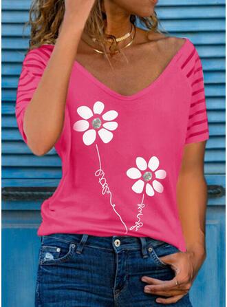 Figure Floral Print V-Neck Short Sleeves T-shirts