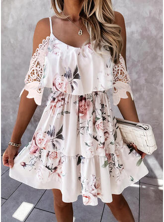 Lace/Print/Floral 1/2 Sleeves A-line Above Knee Casual/Vacation Skater Dresses
