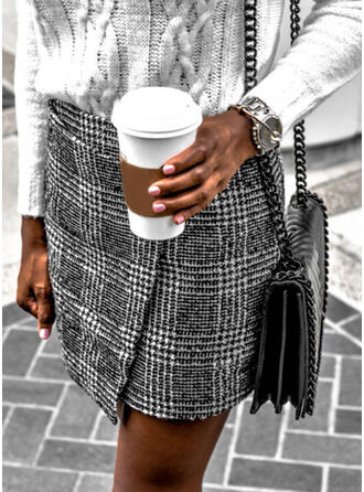 Cotton Blends Plaid Above Knee Pencil Skirts