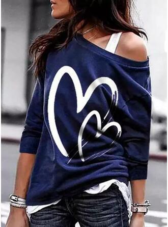 Print Heart One Shoulder Long Sleeves Sweatshirt