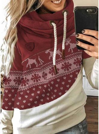 Color Block Dierenprint Lange Mouwen Kerst Sweatshirt