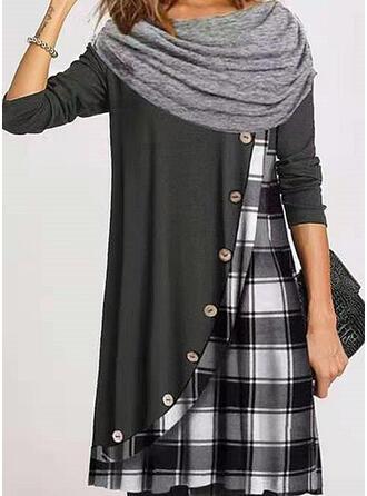 Color Block/Plaid Long Sleeves Shift Knee Length Casual Tunic Dresses