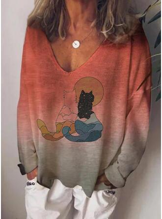 Dierenprint Tie Dye V-hals Lange Mouwen Casual T-shirts