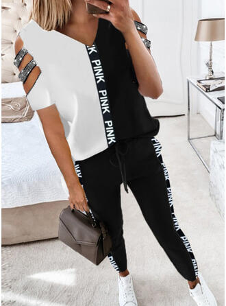 Patchwork Print Plus Size Casual Sporty Suits
