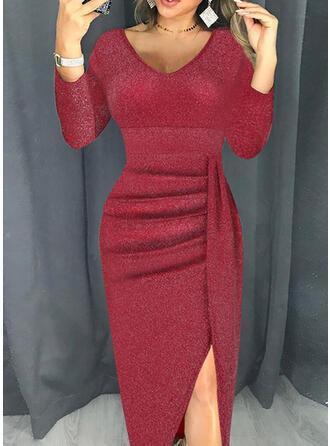 Sequins Long Sleeves Sheath Casual Midi Dresses