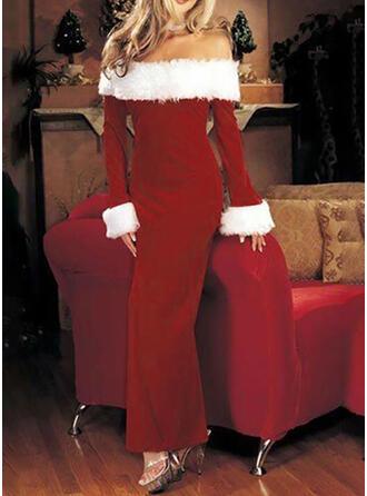 Solide Lange Mouwen Koker Kerstmis/Feest Maximum Jurken