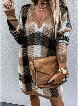 Plaid Long Sleeves Dropped Shoulder Shift Above Knee Casual Sweater Dresses