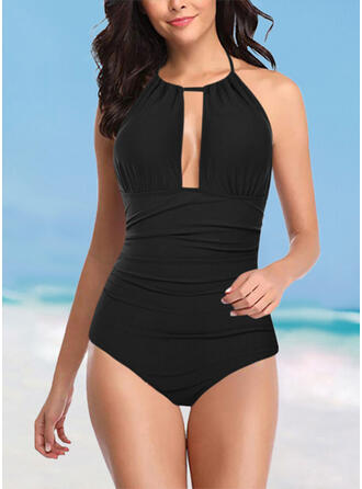 Solid Color Halter Round Neck Classic Casual One-piece Swimsuits